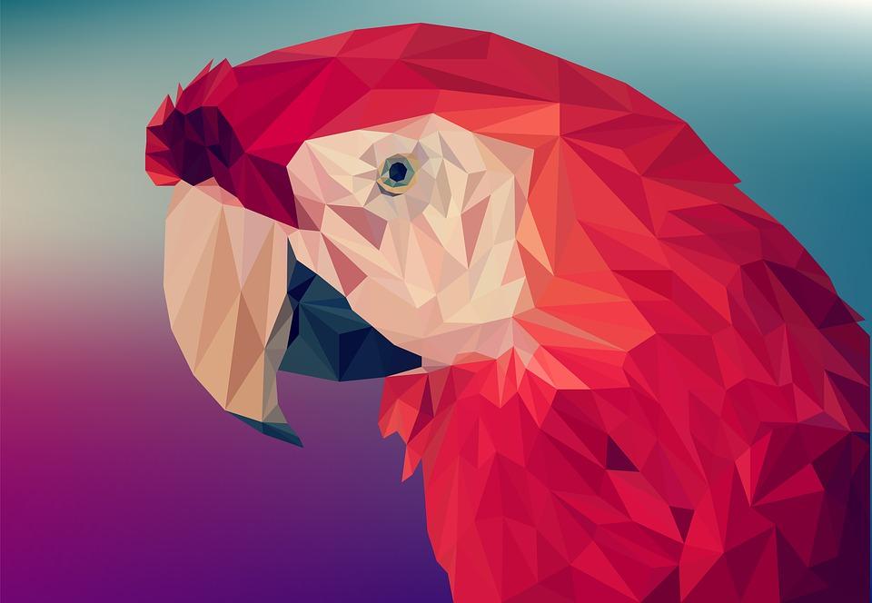 Perroquet en low-poly
